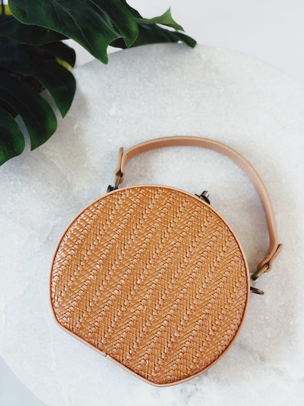 Anya Nude Brown Mini Woven Circle Tote Handbag by Street Level - amannequin - amannequin