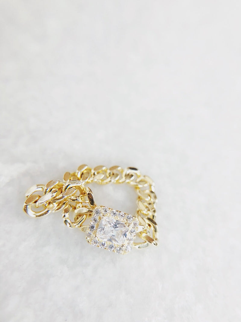 Joie Chain Ring with CZ- Sterling Silver - amannequin - amannequin