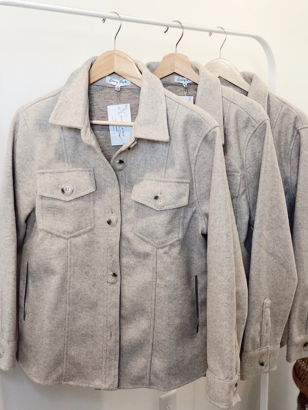 Alexandria Oversized Wool Button Up Jacket - Natural