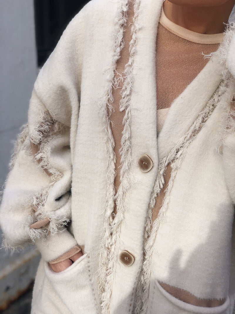 Vanilla Fuzzy Knit Fringe Puff Sleeve Oversized Cardigan - Cream-Sweater-Fate By LFD-AMQN Boutique