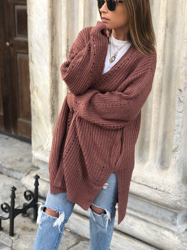 Luca Slouchy Knit Cardigan - Marsala-Sweater-hyfve-AMQN Boutique