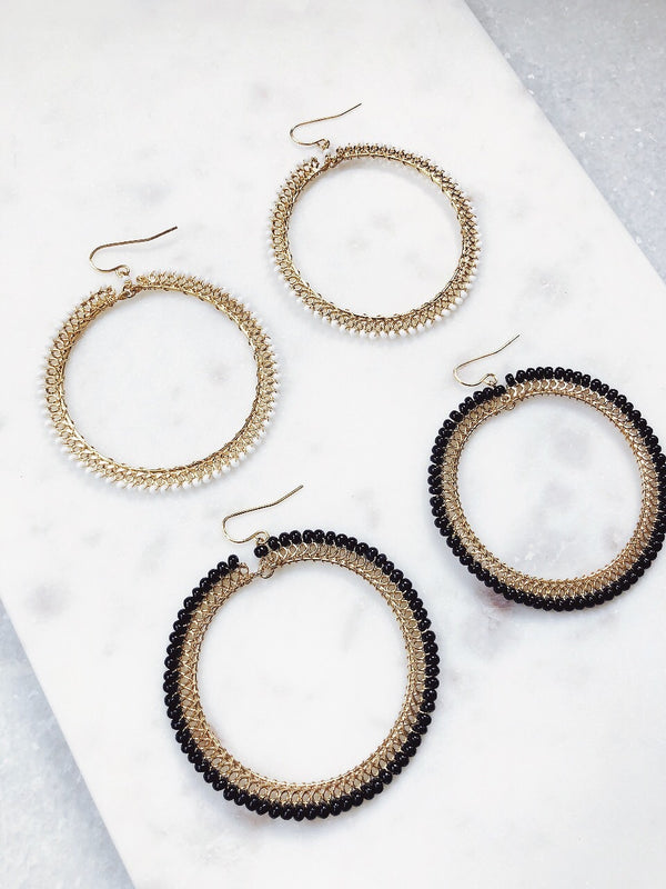 Cleopatra Beaded Hoop Earrings - amannequin - amannequin