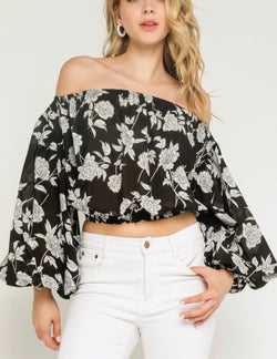 Stella Floral Puff Off the Shoulder Sleeve Top - Black/White
