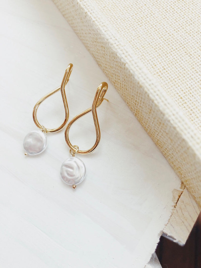 Adley Mother of Pearl Sterling Silver Hoop Earrings - amannequin - amannequin
