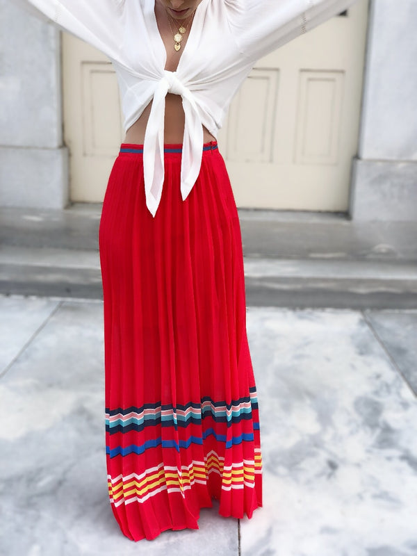 Varuka Red + Striped Pleated Maxi Skirt-bottoms-flying tomato-AMQN Boutique