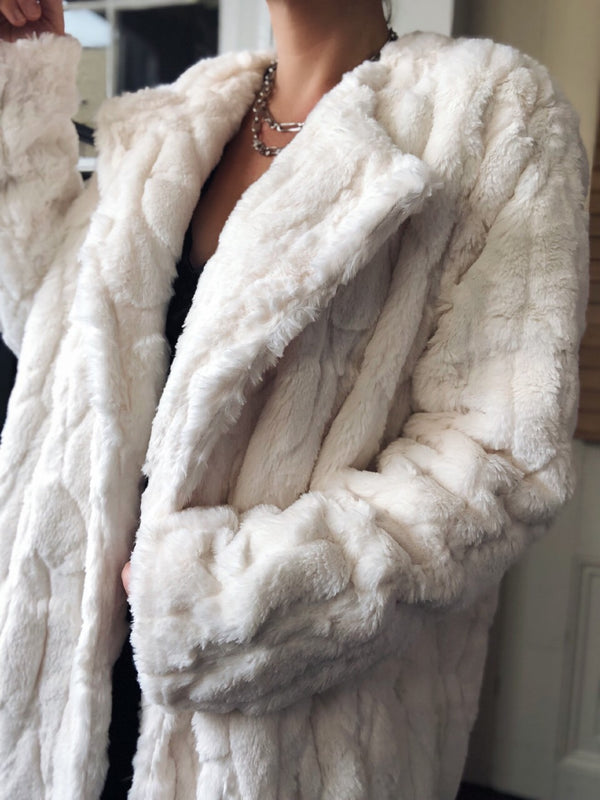 Yelena Mink Faux Fur Jacket - White