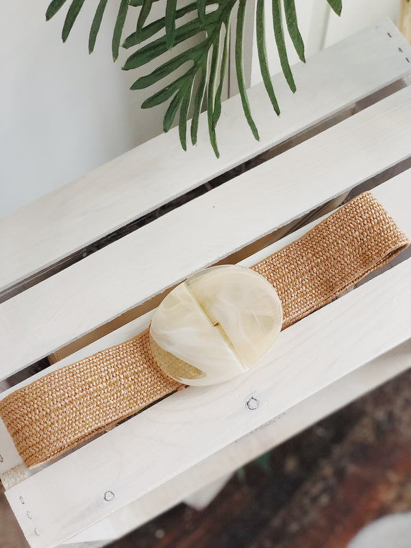 Kona Natural Woven Acrylic Buckle Belt | One Size | Womens | amannequin