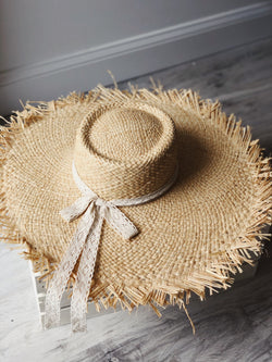 Ellie Raffia Wide Brim Hat - Natural