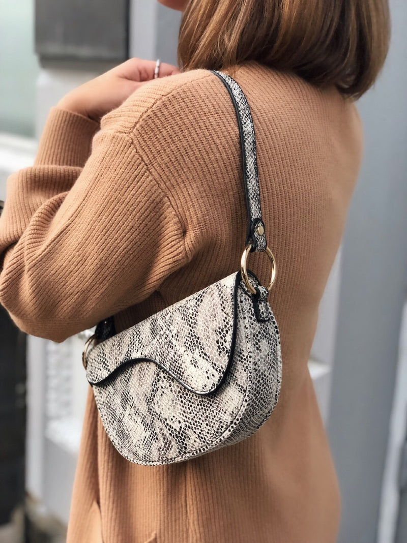 Lea Snakeskin Saddle Bag by Street Level - amannequin - amannequin