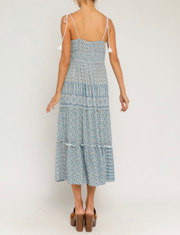 ABIGAIL BOHO PRINT MIDI DRESS