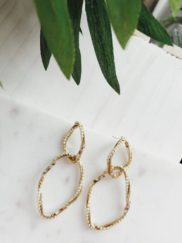 Auza Gold Pearl Pavé Hoop Earrings | Womens | amannequin | Nakamol
