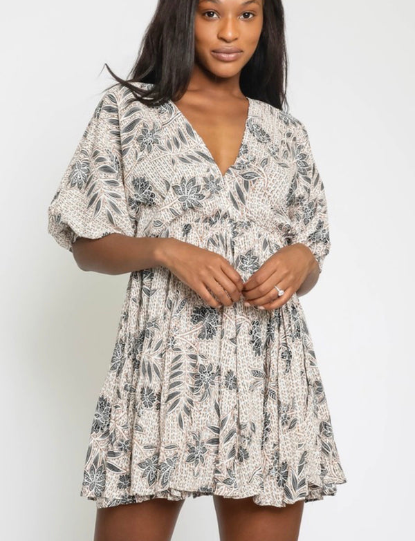 Henna Floral Babydoll Dress - Multi