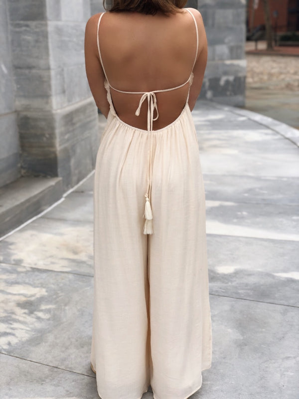 Monroe Eyelet Open Back Wide Leg Pocketed Jumpsuit - Cream - amannequin - amannequin