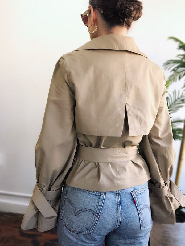 Devoted Khaki Cinch Sleeve Cropped Trench Coat-jacket-on twelfth-AMQN Boutique