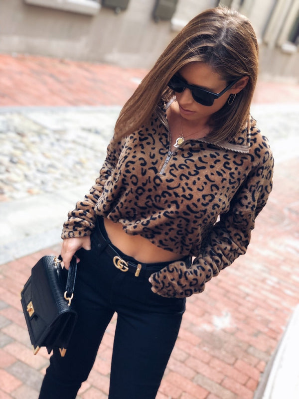 Nia Leopard Print Fleece Cropped Pull Over - amannequin - amannequin