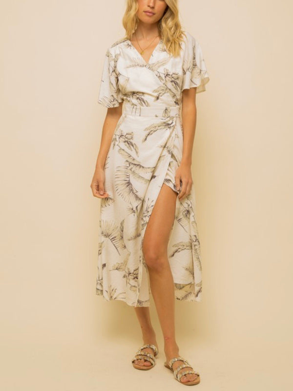 Olivia Palm Print Wrap Midi Dress