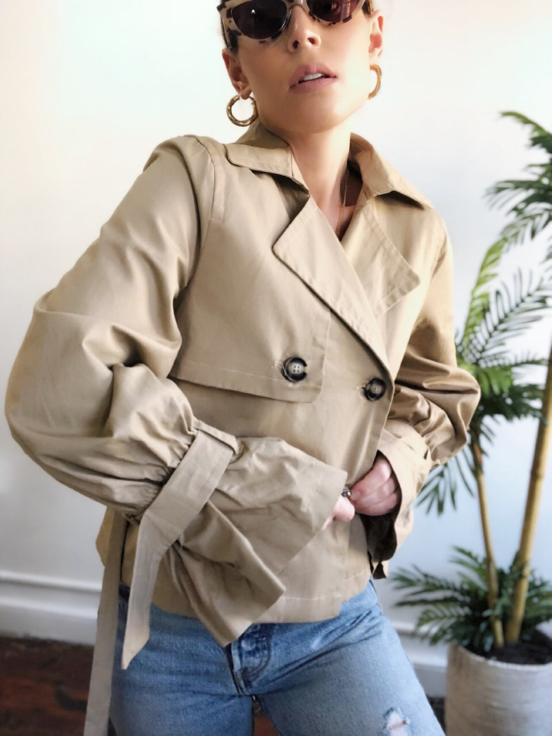 Devoted Khaki Cinch Sleeve Cropped Trench Coat - amannequin - amannequin
