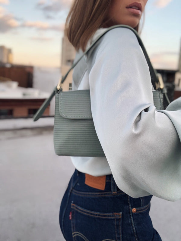 Lina Lizard Embossed Baguette Bag by Street Level - Pistachio Green