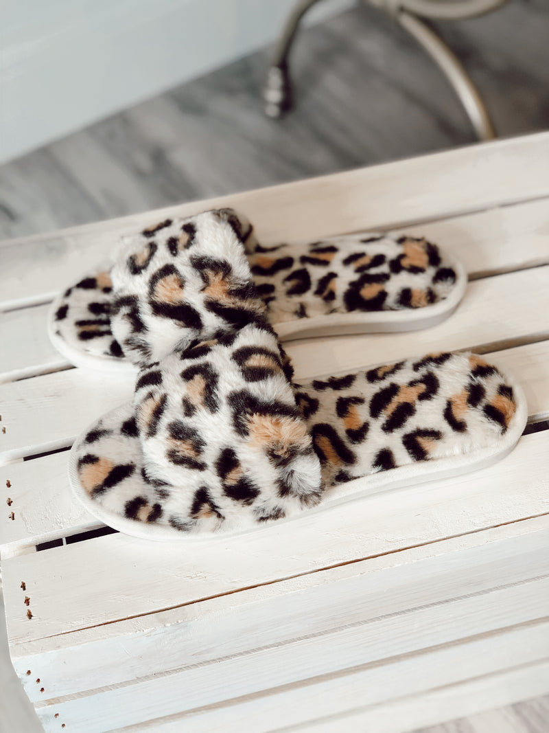 Lennon Leopard Faux Fur Slippers
