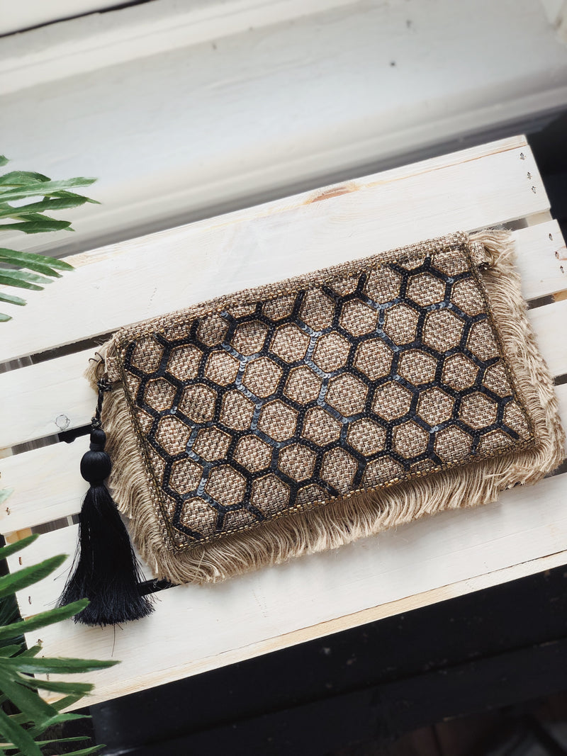 Rae Woven Hand Embroidered Clutch - Natural
