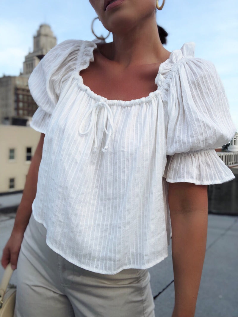 Birdie White Puff Sleeve Off the Shoulder Top - amannequin - amannequin
