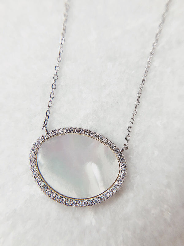 Juno CZ Mother of Pearl Sterling Silver Necklace - amannequin - amannequin