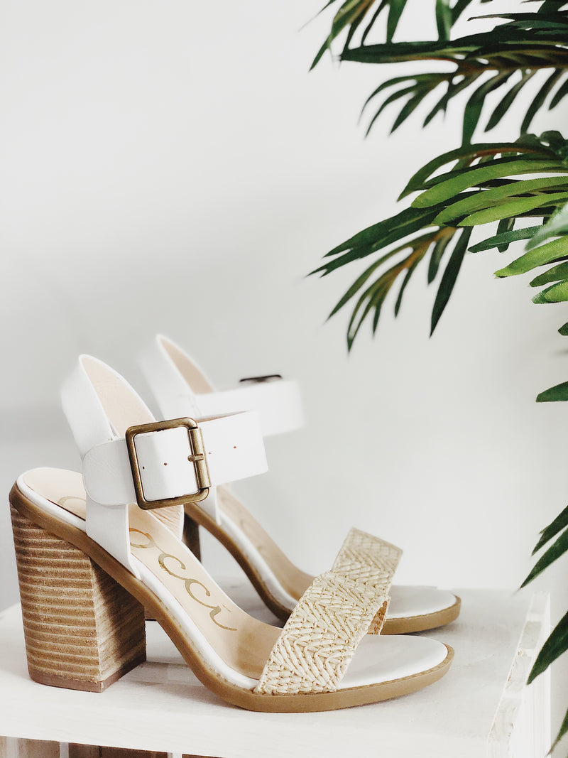 Lexxa Rafia Ankle Strap Heeled Sandals - White & Natural