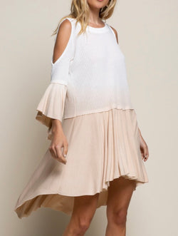 GINA COLD SHOULDER KNIT DRESS - TAUPE/WHITE