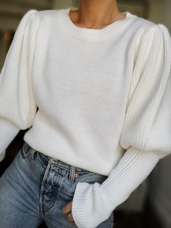 Kaya Knit Puff Sleeve Sweater - White