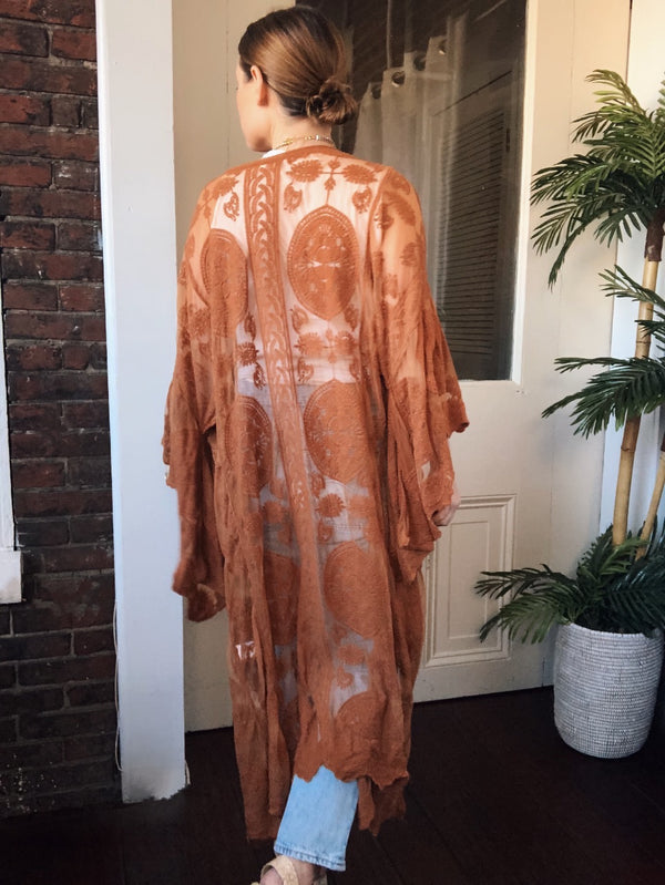 Hali Longline Lace Bell Sleeve Kimono - Rust Brown - amannequin - amannequin