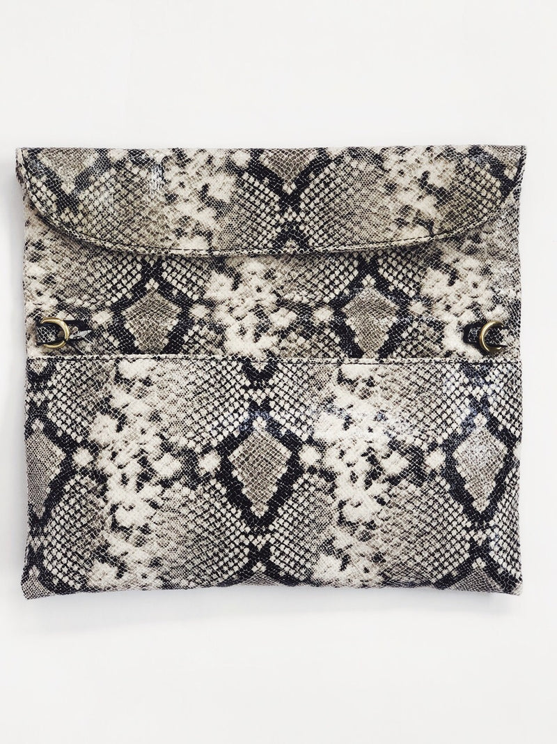 Manon Snakeskin Vegan Leather Fold Over Clutch-Handbag-street level-AMQN Boutique