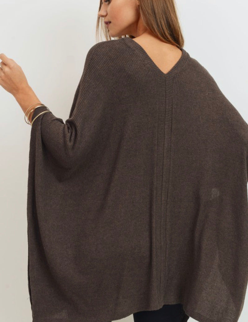 Aaliyah Rib Knit Poncho Top