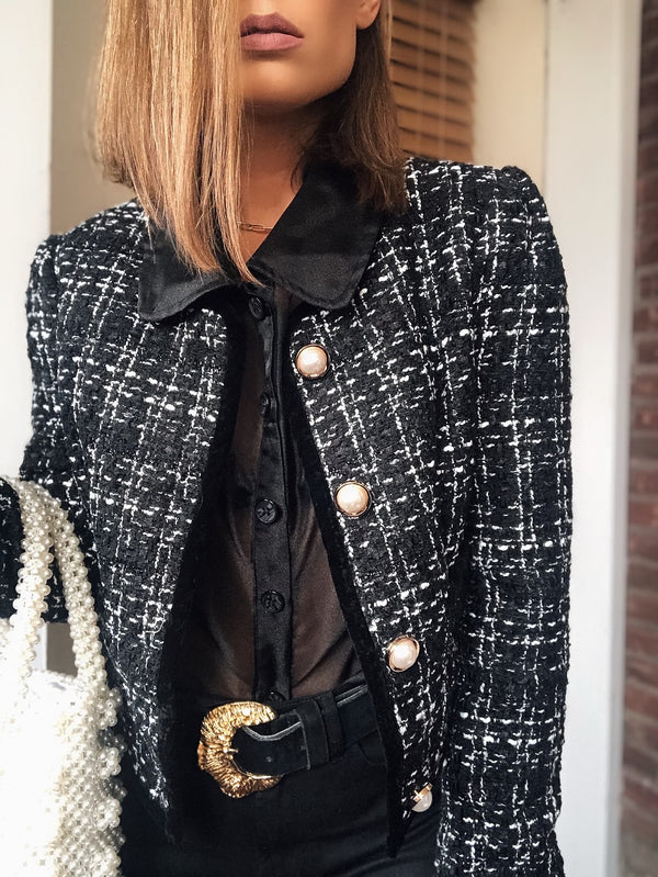 Jaden Tweed Cropped Jacket - Wild Honey-jacket-wild honey-AMQN Boutique