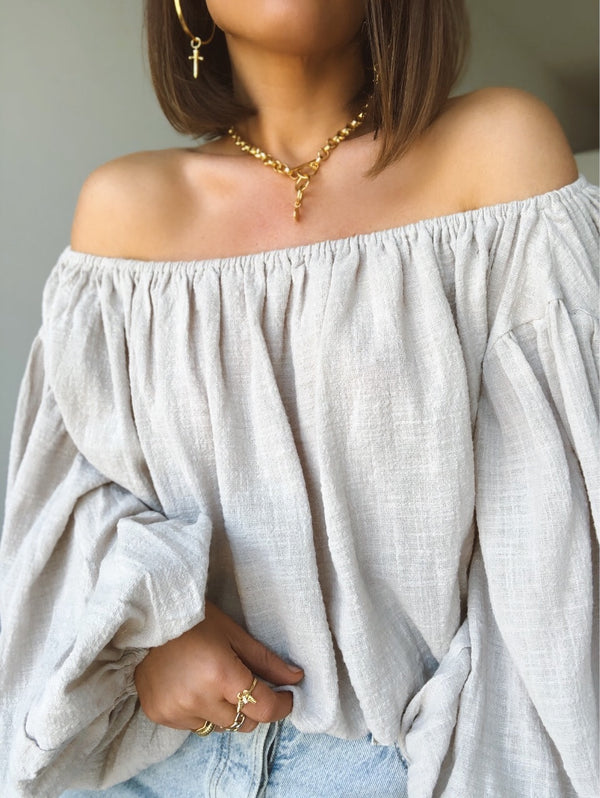 Orianna Puff Sleeve Off the Shoulder Top | Taupe