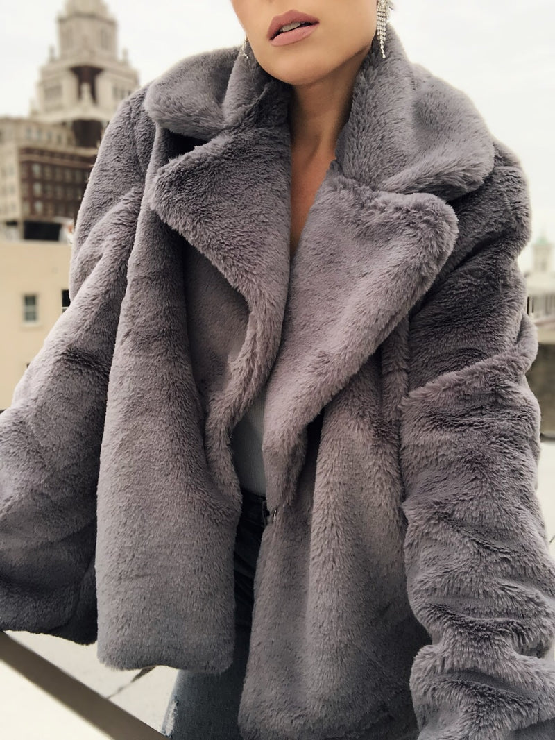 Vana Gray Faux Fur Bell Sleeve Coat-jacket-skylar and madison-AMQN Boutique