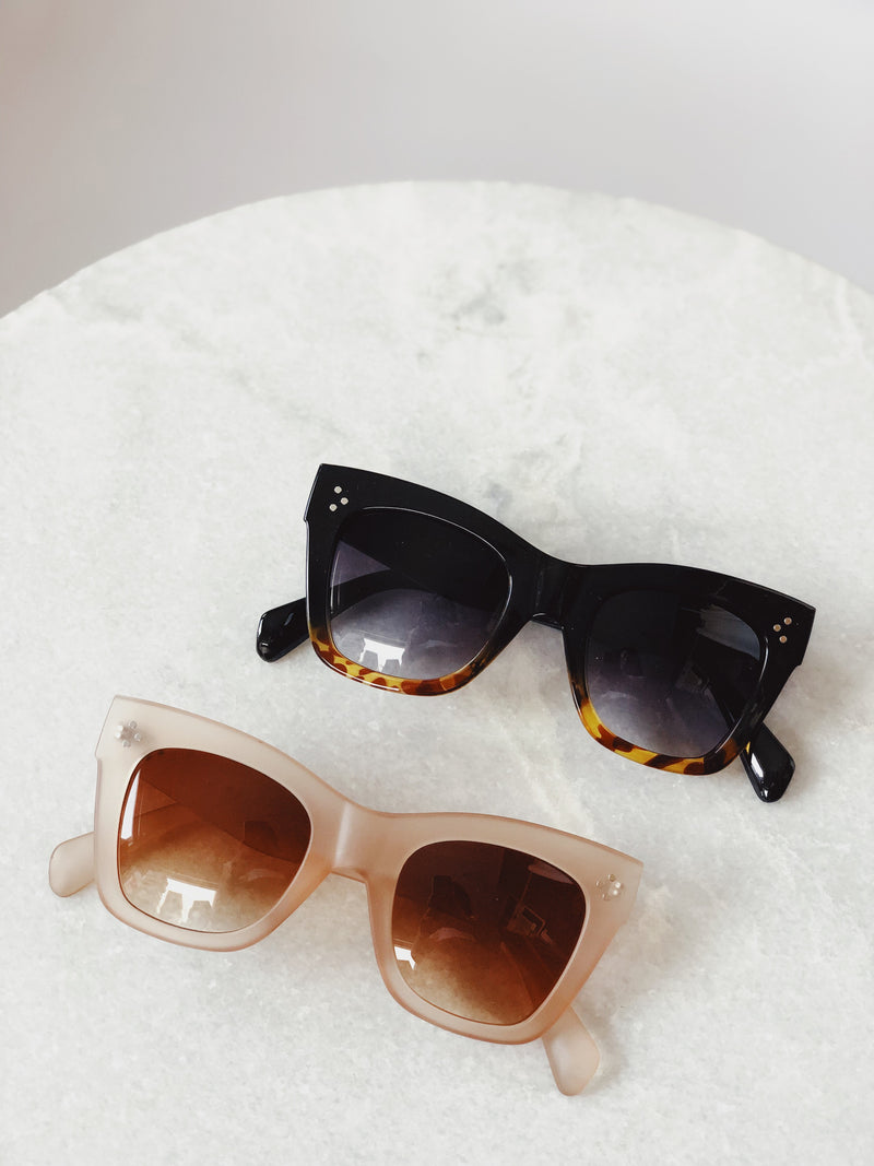 Remy Nude Matte Lucite Oversized Sunglasses by AJ Morgan - amannequin - amannequin