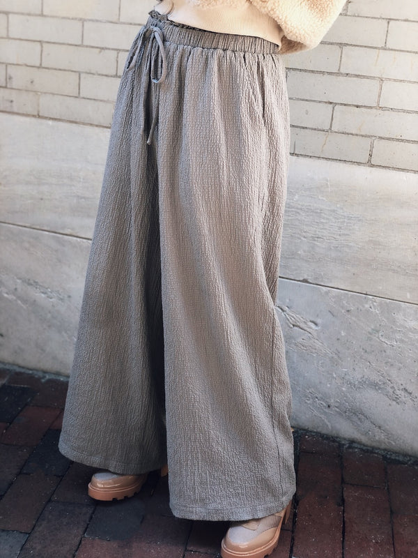 ROUX CRINKLE WIDE LEG CULOTTE PANTS - TAUPE-pants-grade and gather-AMQN Boutique