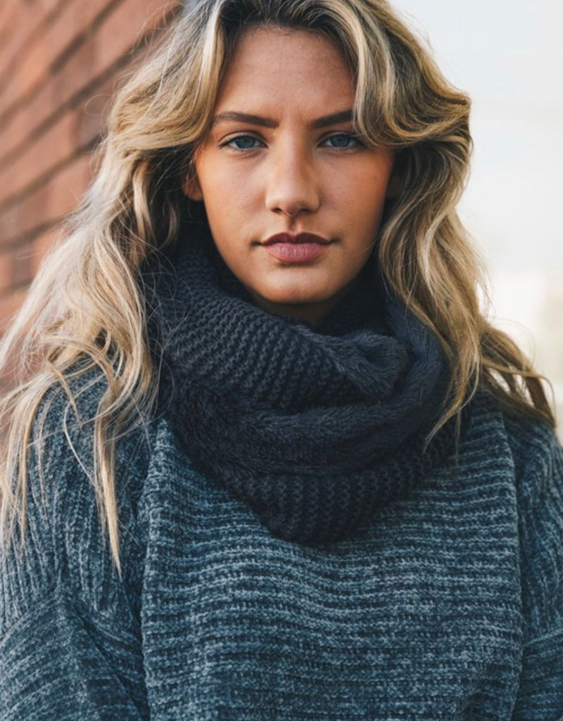 Nyla Knit Infinity Scarf with Faux Sherpa Lining