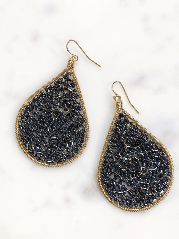 Cleo Beaded Tear Drop Earrings - Navy - amannequin - amannequin