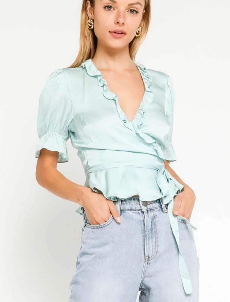 Patty Pastel Blue Satin Wrap Top