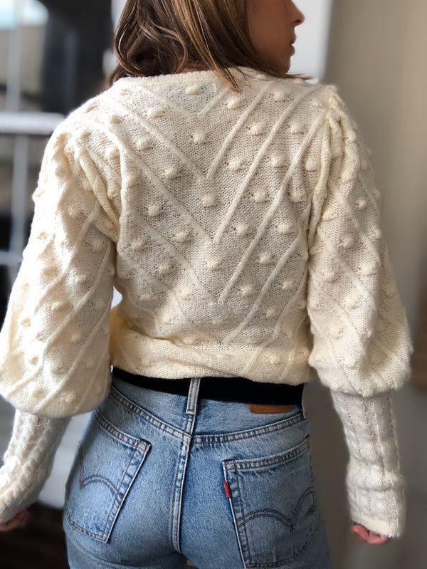 Billie Pom Pom Puff Sleeve Sweater - Cream - amannequin - amannequin