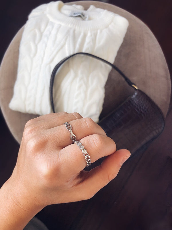 Lacia Chain Ring - Sterling Silver-Hand ring-byzade-AMQN Boutique