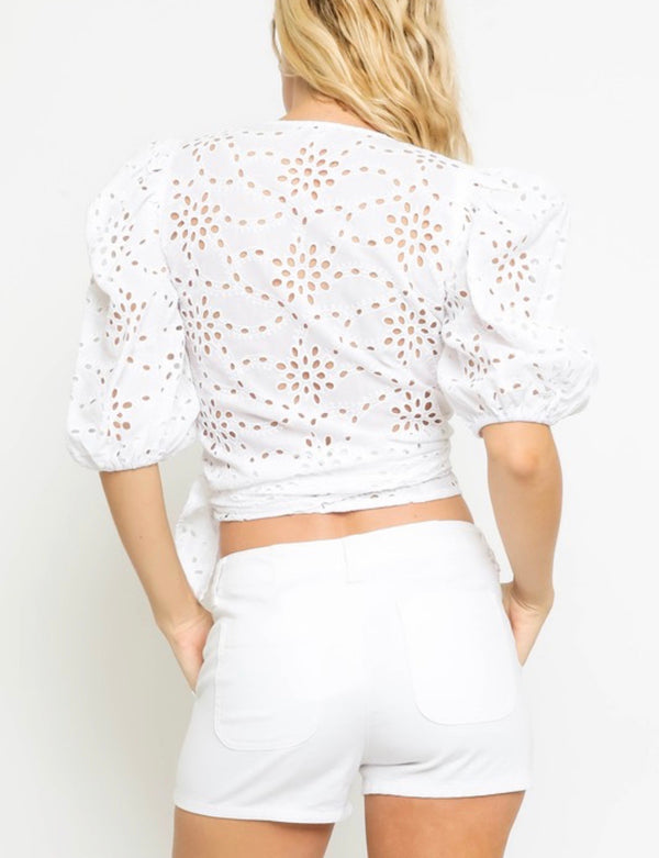 Catie Puff Sleeve Eyelet Top - White