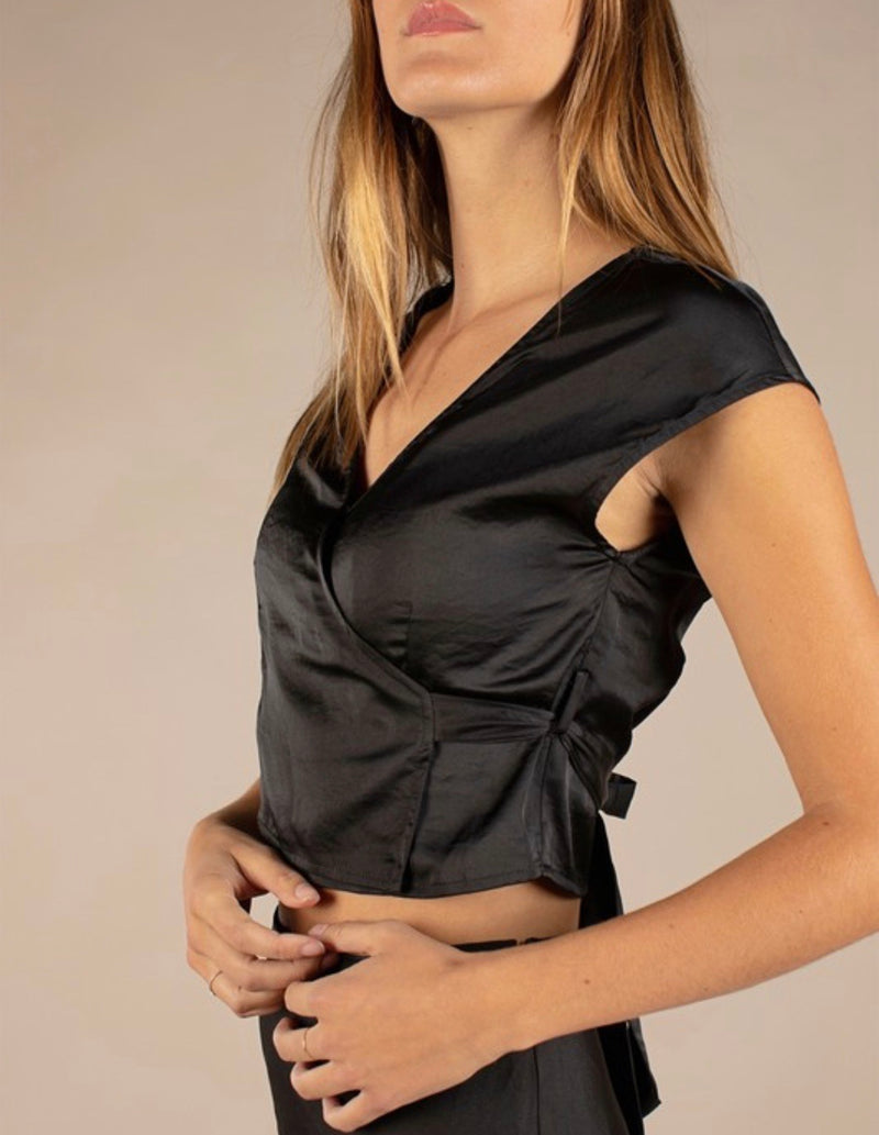 BAILEY SATIN WRAP TOP