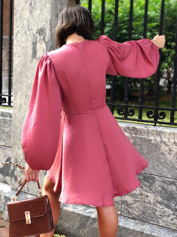 Erika Rose Pink Satin Puff Sleeve Dress-dress-Saints+ Secrets-AMQN Boutique