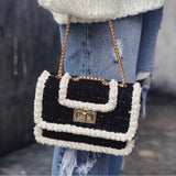 Zendaya Black & Cream Tweed Pearl Crossbody Handbag - amannequin - amannequin