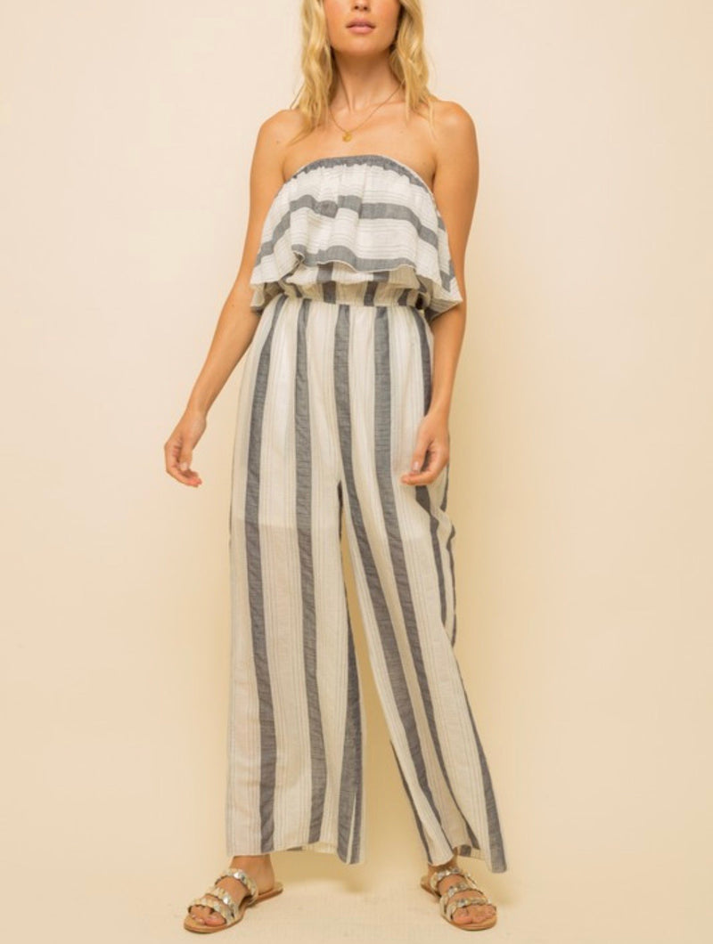 Emma Striped Off the Shoulder Jumpsuit