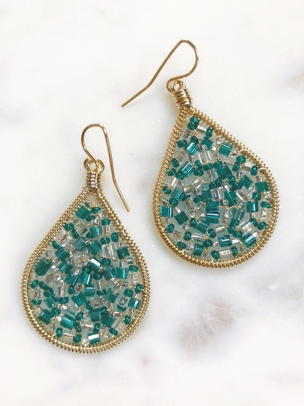 Cleo Beaded Mini Tear Drop Earrings - Turquoise - amannequin - amannequin