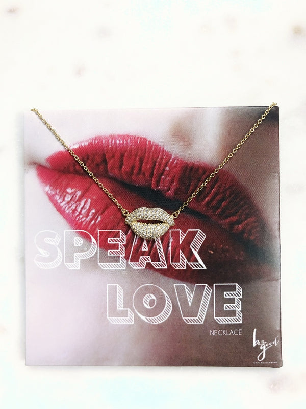 Speak Love Lips Necklace - Sterling Silver - amannequin - amannequin