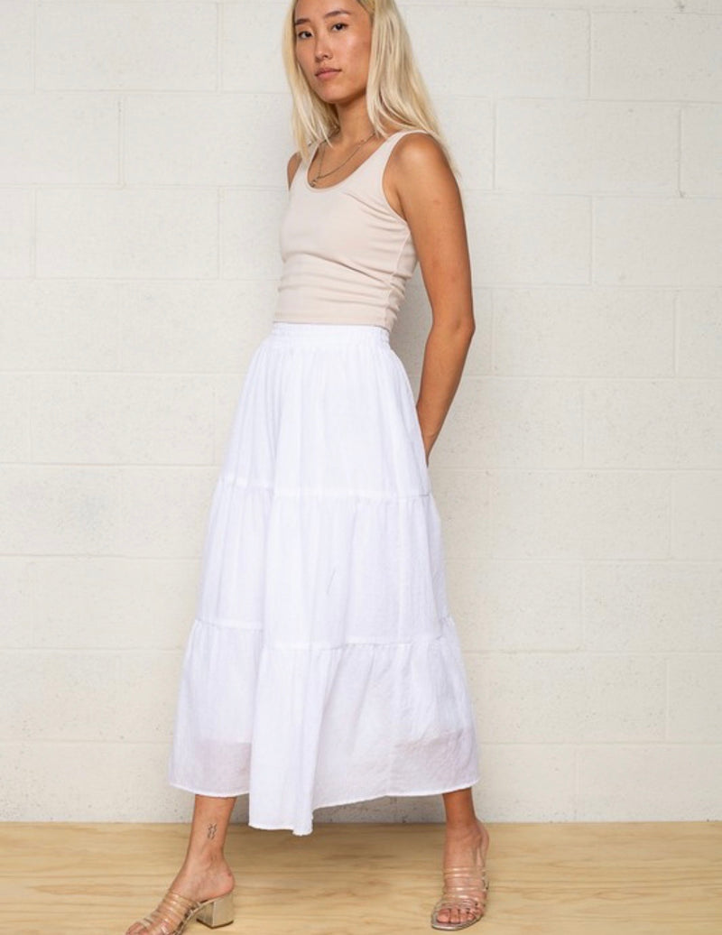 Marley Tiered Midi Boho Skirt